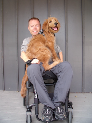 A fluffy, medium-sized golden retriever mix dog is overflowing the lap of a man in a push chair. Both are smiling.