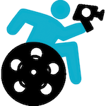 Icon of the 2018 Film Festival, a blue handiman holds up a camcorder and leans forward in his wheelchair, whose wheel is a film reel.