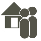 Community Attendant icon. Two simplified figures hover in front of a house.