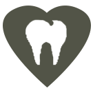 Dental care icon. A tooth shape inside a grey heart.