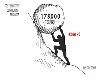 Sisyphus graphic. A human figure (labeled $8.00/hr) pushes a boulder (labeled 178,000 Texans) up a hill. The top of the hill reads Cost-effective community services and the bottom reads institutions.