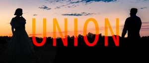 In silhouette against a setting sun, a female and a male figure stand facing each other, the word UNION in orange letters between them.